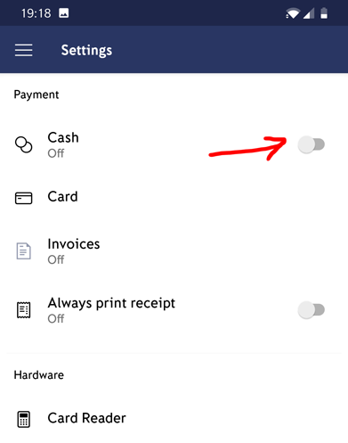iZettle Cash Payments
