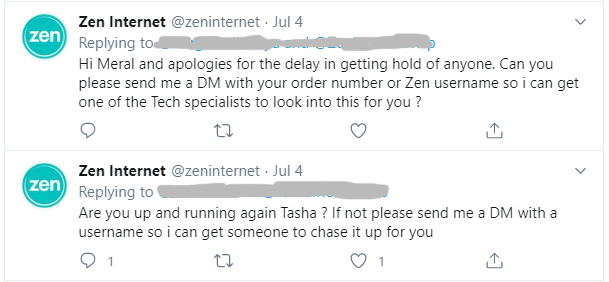 Zen Internet use Twitter for customer support