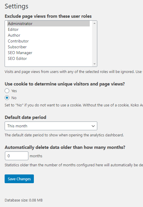 Koko Analytics default configuration