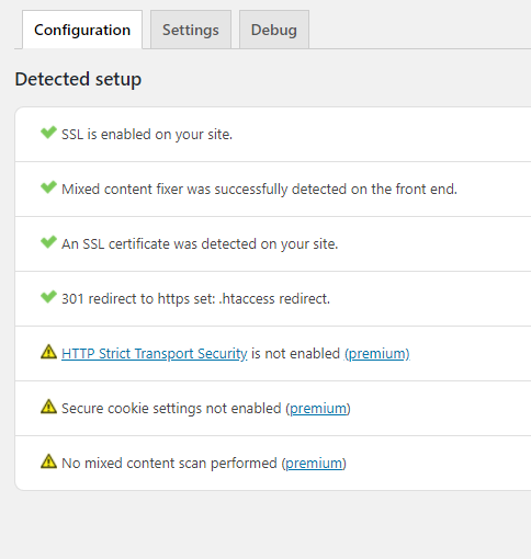 Default configuration for Really Simple SSL