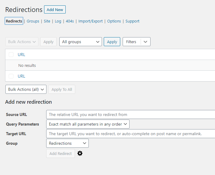 How to configure the WordPress Redirection plugin