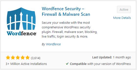 Wordfence security plugin configuration