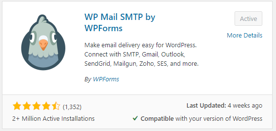 The WP Mail SMTP plugin for WordPress