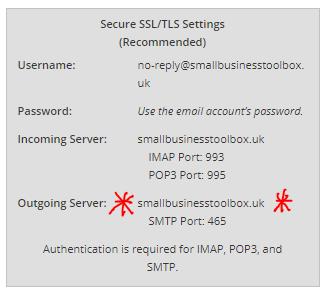 SMTP account details