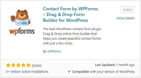 WPForms contact form builder