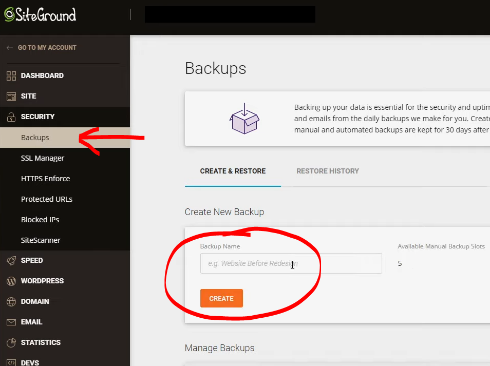 How to backup with SiteGround control panel