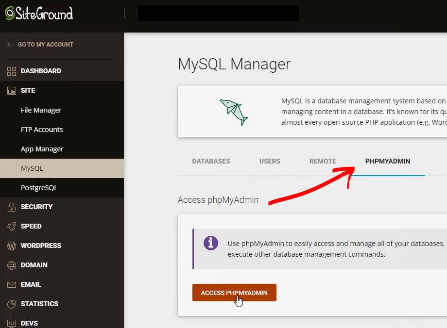 PHPMyAdmin to backup your database
